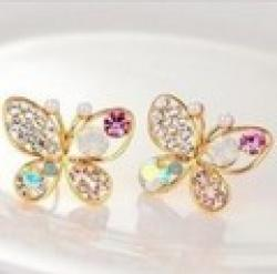 Cheap LZ Jewelry Hut E59 The 2014  Wholesale Fashion Colorful Crystal Butterfly Womans Earrings