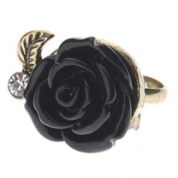 Cheap Vintage Style Black Rose Ring