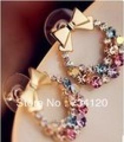 Cheap EX135 Free shipping mix wholesale 2014 NEW Accessories Trendy Fashion Vintage Full Rhinestone Bow Gem Crystal Earrings for women
