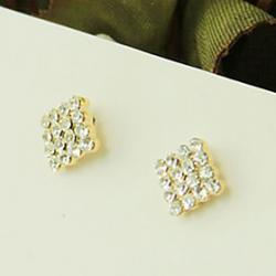 Cheap Square -Crystal -Studded Earrings Earrings Korean Version Of The Temperament Bohemian Diamond Ear Clip E652