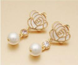 Cheap B227 Fashion roses pearl Women jewelry earrings