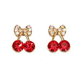 Cheap Cute little pieces of red cherry delicate diamond ring earring elegant female Korean Korean jewelry wholesale E471