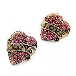 Cheap Korean version of sweet temperament diamond earrings fashion love peach heart love earrings E102