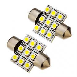 2 Pcs festoon 1.5W 31mm 9x3528SMD 100-120LM 6000K Cool White Light LED Bulb (12V) Sale