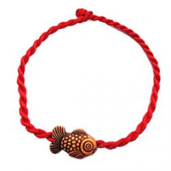 Cheap Chinese Red Classic Red String Bracelet with Cute Little Goldfish