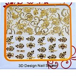 Cheap Latest Metal Children Art Nails Stickers With 3D Flower Butterfly Bee Pattern