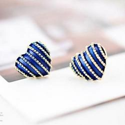Low Price on British Style Jewelry Retro Stripes Hearts Love Stud Earring (4 Colors)
