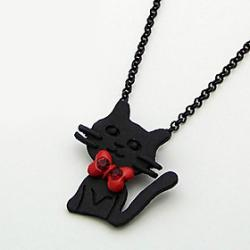 Cheap Korean fashion jewelry red bow tie kitty necklace N541