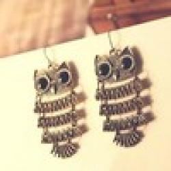 Low Price on Free shipping New hot Korean fashion Elegant Retro metal Pattern Cute Owl Pendant Drop earrings jewelry for women  2014 PD21
