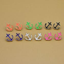 Low Price on 2013 New fashion Jewelry Enamel anchor stud nice gift for women wholesale  E805