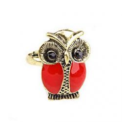 Low Price on European and American style jewelry retro fashion diamond sparkle Enamel owl ring ring (random color)