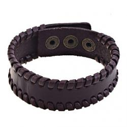 Cheap Lureme Simple Leather Braided Bracelet