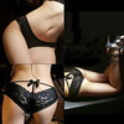 Cheap Black Sexy Lace Seductive Sheer Underwears lingerie W PEPU