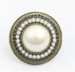 Cheap Fashion New Arrival Hot Sale Pretty Simulated  Pearl UFO Retro Art Deco Style Large Adjustable Party White Ring R5