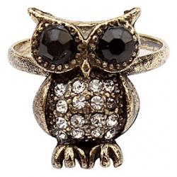 Cheap South Korea Full Of Diamond Jewelry Retro Owl Ring