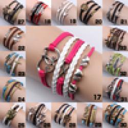 Cheap New 2014 Womens Fashion Vintage Owl Tree Love Infinity Anchors Rudder Rectangle Leather Bracelet Multilayer bracelets & bangles