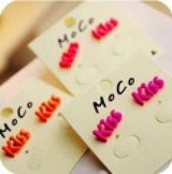 Cheap ES474 Fashion Fluorescent Color Candy Color Paint Letters Kiss Earrings Wholesales!Free shipping!