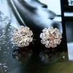 Cheap Min.order $10 mix orde spherical Crystal Flower Stud Earrings for Women Artificial stone earring, rhinestones