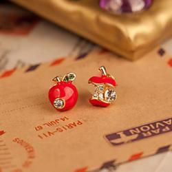 Cheap South Korean small jewelry wholesale fashion cute red enamel drop earrings asymmetric apple(random color)