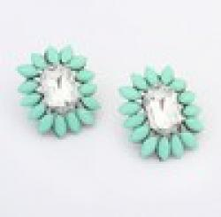 Cheap No Min Order Wholesale Cheap Jewelry New 2014 Women Fashion Bohemia Resin Beads Earrings Cute Rhinestone Statement Stud Earrings