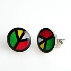 Cheap Round Mix Colors Peace Stainless Steel Stud Earrings