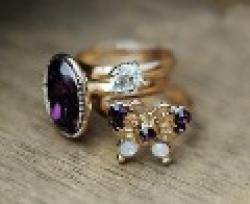 Cheap Fashion Hot Sale New Arrival Shiny Purple Rhinestone Beautiful Bulterfly 3Rings R69