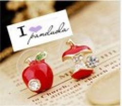 Free shipping!Original single foreign trade jewelry glaze red apple retro Studs Earrings asymmetricC104 Sale