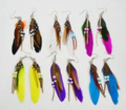 Cheap New fashion jewelry romantic multicolor feather drop earring gift  for women girl wholesale E1017