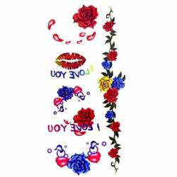 Cheap 1pc Sexy Lips Rose Waterproof Tattoo Sample Mold Temporary Tattoos Sticker for Body Art(18.5cm8.5cm)