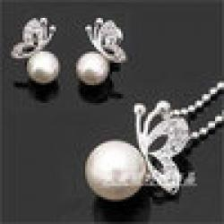Low Price on E119 Butterfly pearl earrings, necklace suit song hye kyo Han edition earrings fashion The bride jewelry accessories