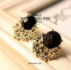 Cheap Free Shipping $10 (mix order) New Fashion Vintage Luxury Black Stone Gem Crystal Stud Women Earring E72 Jewelry