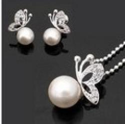 Low Price on Min.order is $9.9 (mix order) free shipping high quality  Butterfly Necklace& Earrings set,wholesale fashion jewelry TZ0001