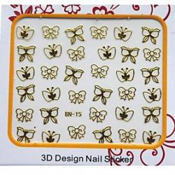 Cheap Most Popular 3D Golden Metal Nail Stickers Decoration With Batterfly Pattern