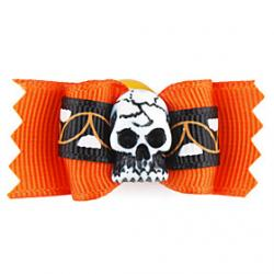 Cheap Elegant Halloween Skull Style Tiny Rubber Band Hair Bow for Dogs Cats
