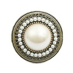 Cheap European And American Trade Jewelry Exaggerated Pearl Round Hat Ring R286