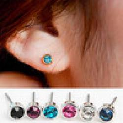 Cheap wholesale !! Hot sale fashion stud earrings lovely  8 color crystal earrings Mix $5 free shipping E-1020