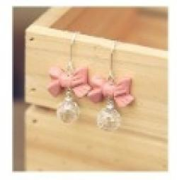 Cheap Minimal mix styles $5 Free Shipping Fashion Cute Pink Bowknot Acrylic Ball Drop Earrings C21R6