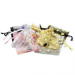 Cheap (Random Color) Chiffon Hot Love  Golden Yarn Bag Accessories Pocket  Jewelry Bag Beam(1PC)