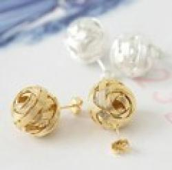 Cheap 26#Min.order is $10 (mix order).South Korea jewelry sweet weave ball stud earrings.+ Free Shipping