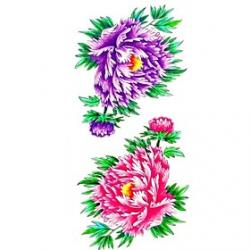 Cheap 1pc Purple Pink Chrysanthemum Waterproof Tattoo Sample Mold Temporary Tattoos Sticker for Body Art(18.5cm8.5cm)
