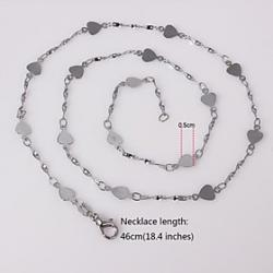 Unisex 5MM Heart-Shaped Silver Chain Necklace NO.54 Sale
