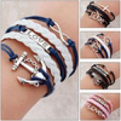 Cheap 2014 Promotion Discount Steampunk Bradided Wax Cords Infinity Love cross Anchor Owl Hungry Games Charms bracelets & Bangles