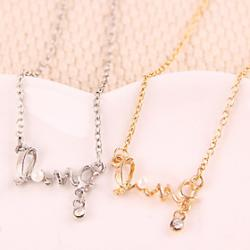 Cheap Alloy Crystal Love Symbol PEARL Pendant Necklace
