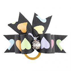 Cheap Colorful Heart Pattern Tiny Rubber Band Hair Bow for Dogs Cats