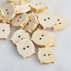 Cheap Piggy Scrapbook Scraft Sewing DIY Wooden Buttons(10 PCS)