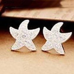 Cheap Delicate Ladies Full Diamond Starfish Earrings New Female Earrings E524