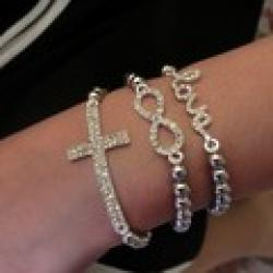 Cheap Min. Order is $10(Can mix order)! Gold&Silve Beads S/ 8 Letter Infinity Love Cross Bracelets&Bangles with Elasticity Gift