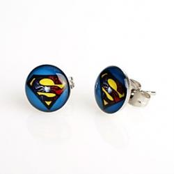 Cheap Fashion Blue Background Superman Stud Earrings