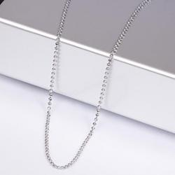 Cheap Unisex 1MM Circle Silver Chain Necklace NO.12