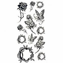 Cheap 1pc Black Rose Butterfly Waterproof Tattoo Sample Mold Temporary Tattoos Sticker for Body Art(18.5cm8.5cm)